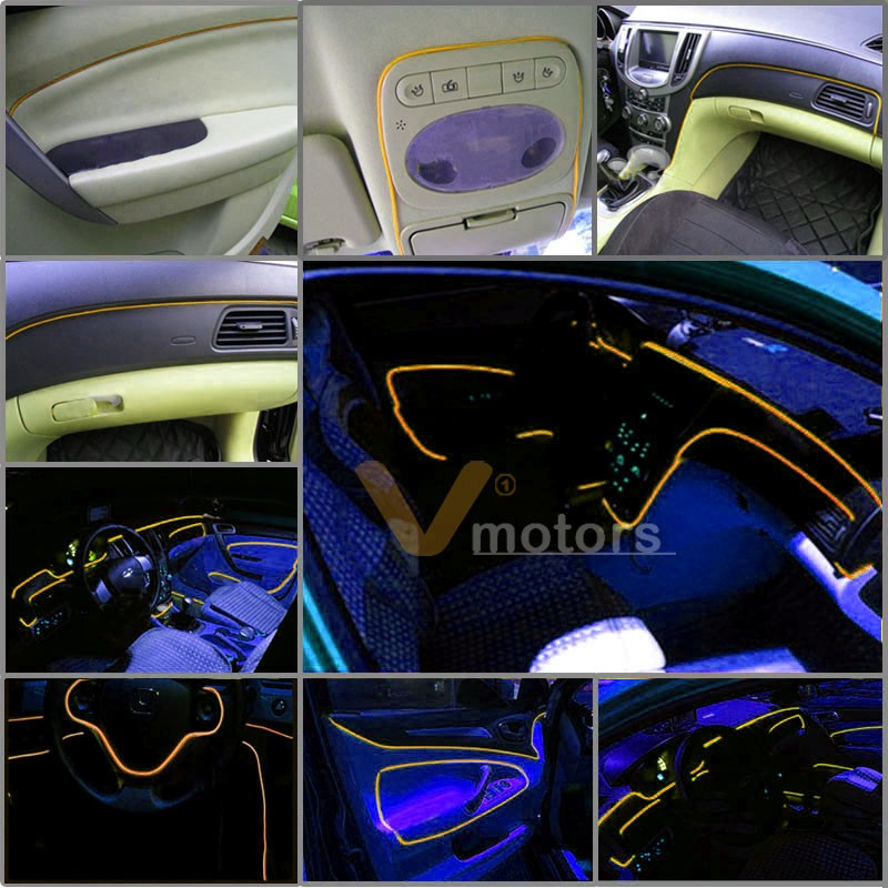 yellow neon glowing glow el wire strip rope 10 39 3m 12v charger car interior deco ebay. Black Bedroom Furniture Sets. Home Design Ideas