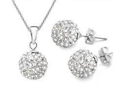 Shamballa Czech Crystal Clay Disco Ball Necklace & Earring Set FREE GIFT BAG UK