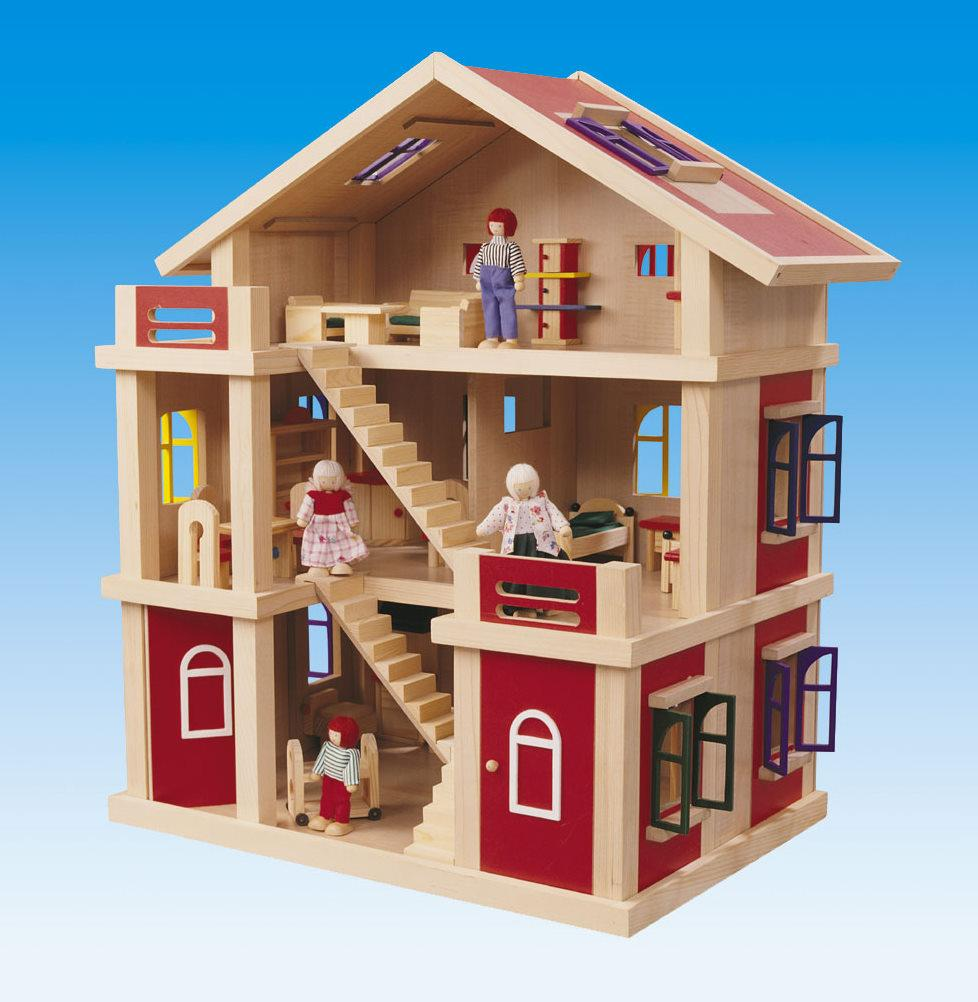 New 3 Story Wooden Doll House W Furniture 4 Dolls Ebay