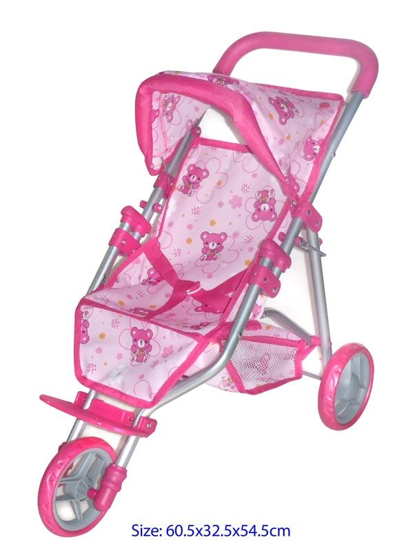 NEW-Dolls-Toy-3-Wheel-Jogger-Stroller-Pram-Pink