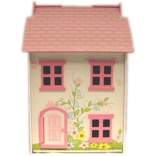 NEW-Painted-Wooden-Doll-House-with-Four-Dolls-and-Furniture