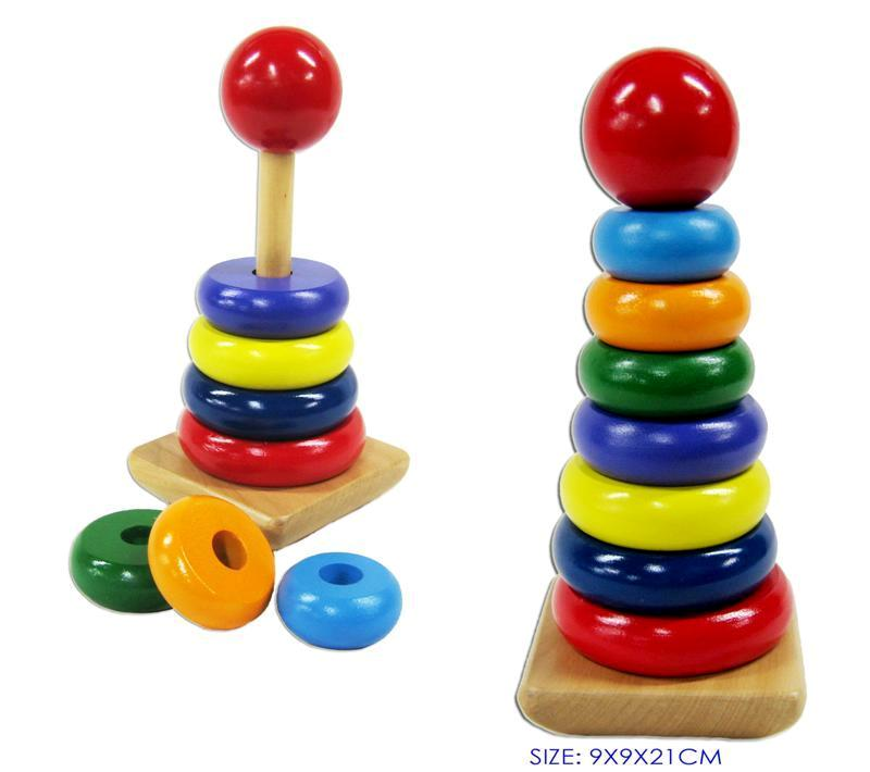 Stacking Toy Puzzles : New childrens wooden rainbow stacking rings educational