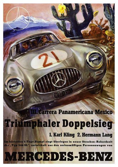 Mercedes benz 300sl large poster carrera panamericana car for Vintage mercedes benz posters