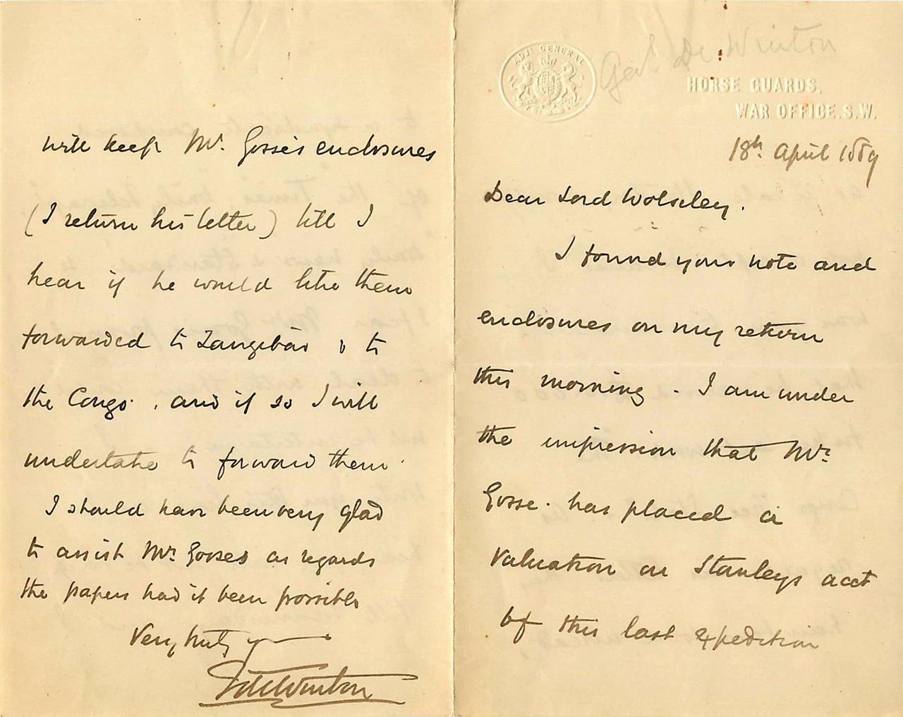 Vintage-Autograph-Letter-Major-General-Sir-Francis-de-Winton-Henry-Stanley