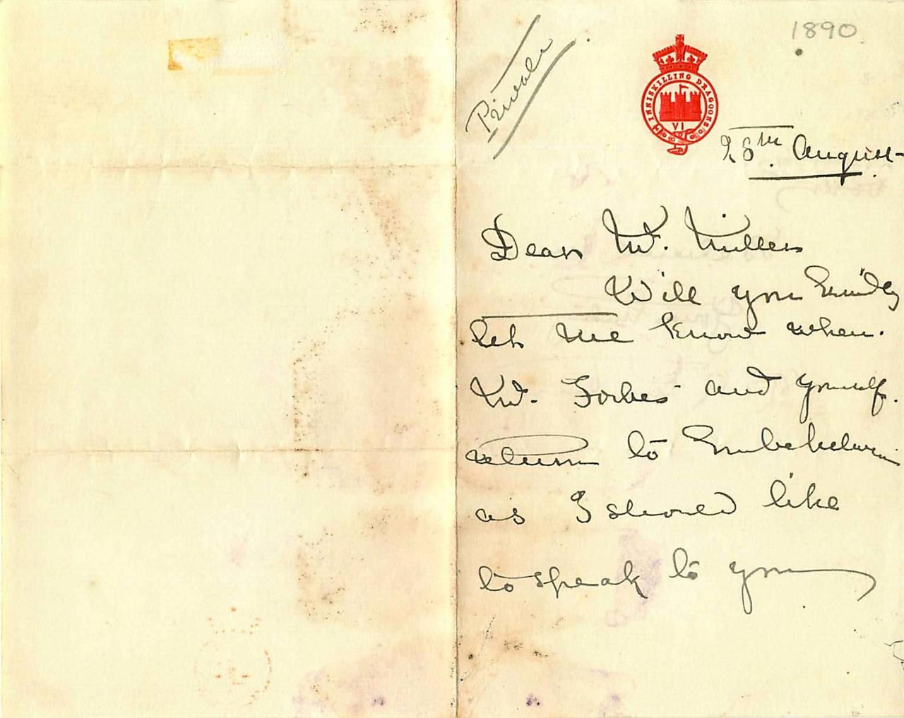 Vintage-Autograph-Letter-Colonel-Sir-R-E-R-Martin-Inniskinng-Dragoons-1890