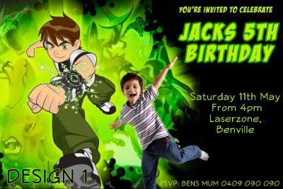 Monster High Avengers Ben 10 Photo Birthday Invitation + Magnet