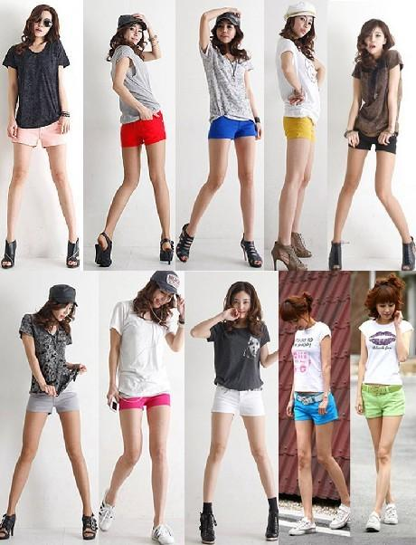 Premium-Womens-Stretchy-Cotton-Skinny-Shorts-Slim-Low-Rise-Pants-Multi-Colors