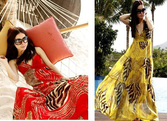 Women-Chic-BOHO-Exotic-Leopard-Prints-Chiffon-Maxi-Summer-Long-Dress-3-Color-M-L