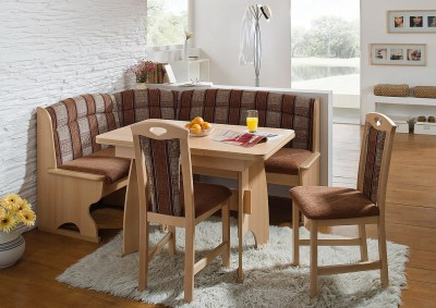 Luzern dining set corner bench kitchen booth nook expandable table chairs ebay - Booth kitchen table set ...