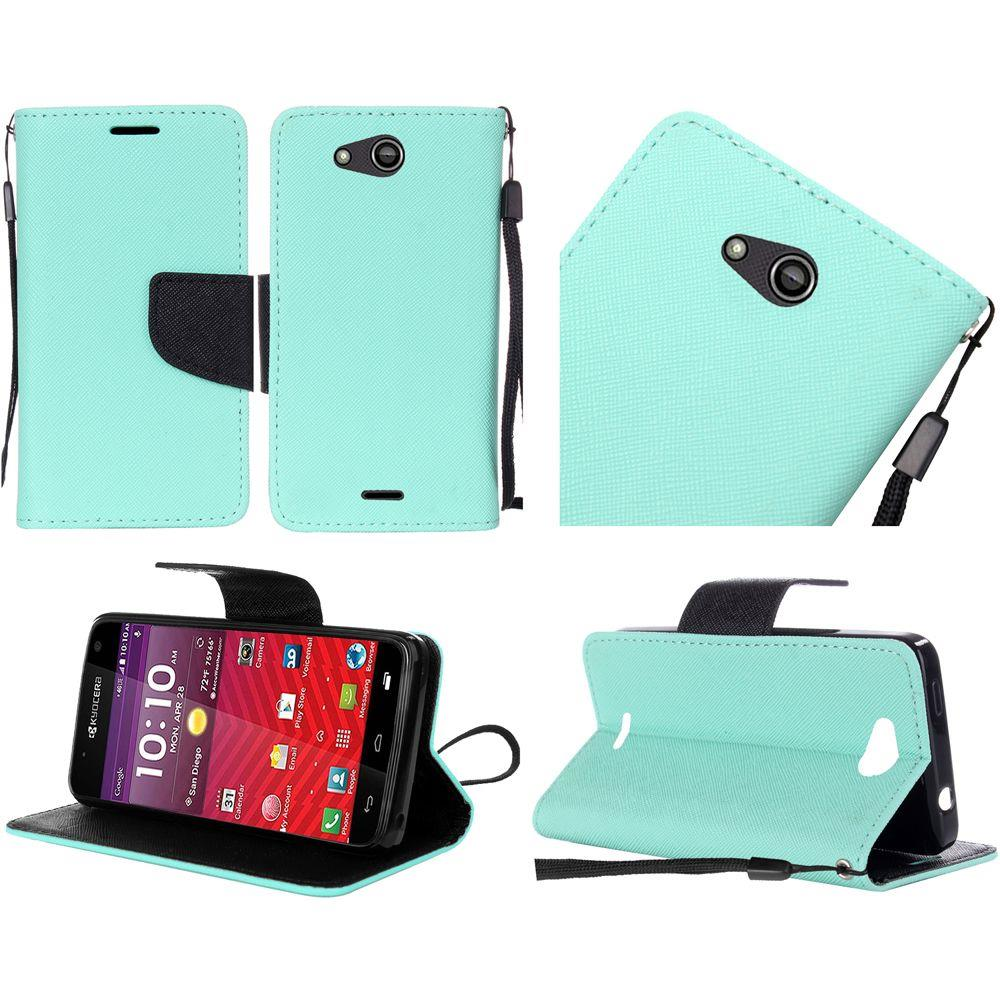 For Kyocera Hydro Wave C6740 Premium Leather Flip Wallet Cover Case