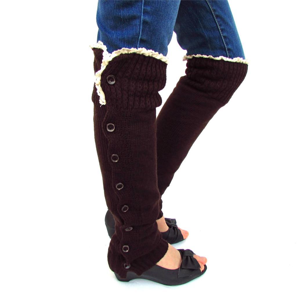 sock boots for legs new wool knit xlong button leg boots socks w top lace ebay