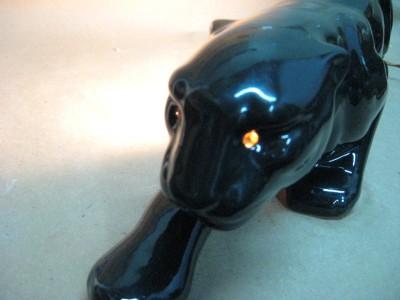 Nice Vintage Retro 1950 S Ceramic Black Panther Cougar Cat