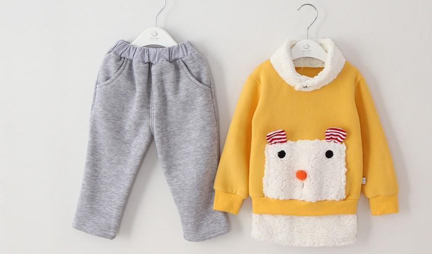 2pcs boys thick winter clothes baby clothes fleece