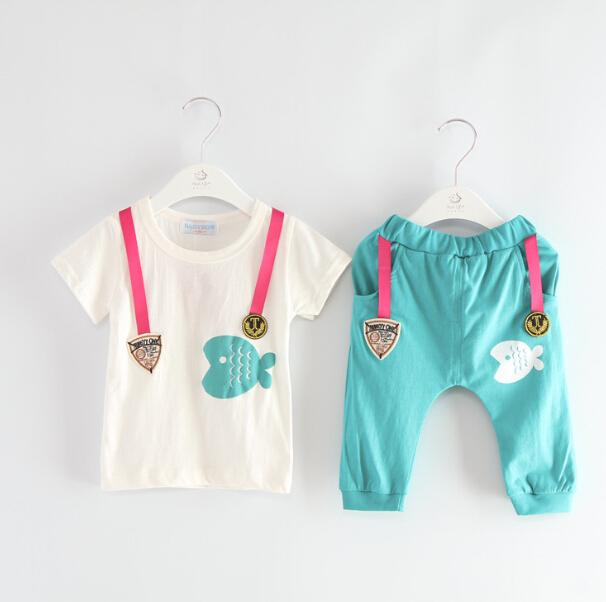 2PCS baby boys cotton summer clothes tops pants outfits