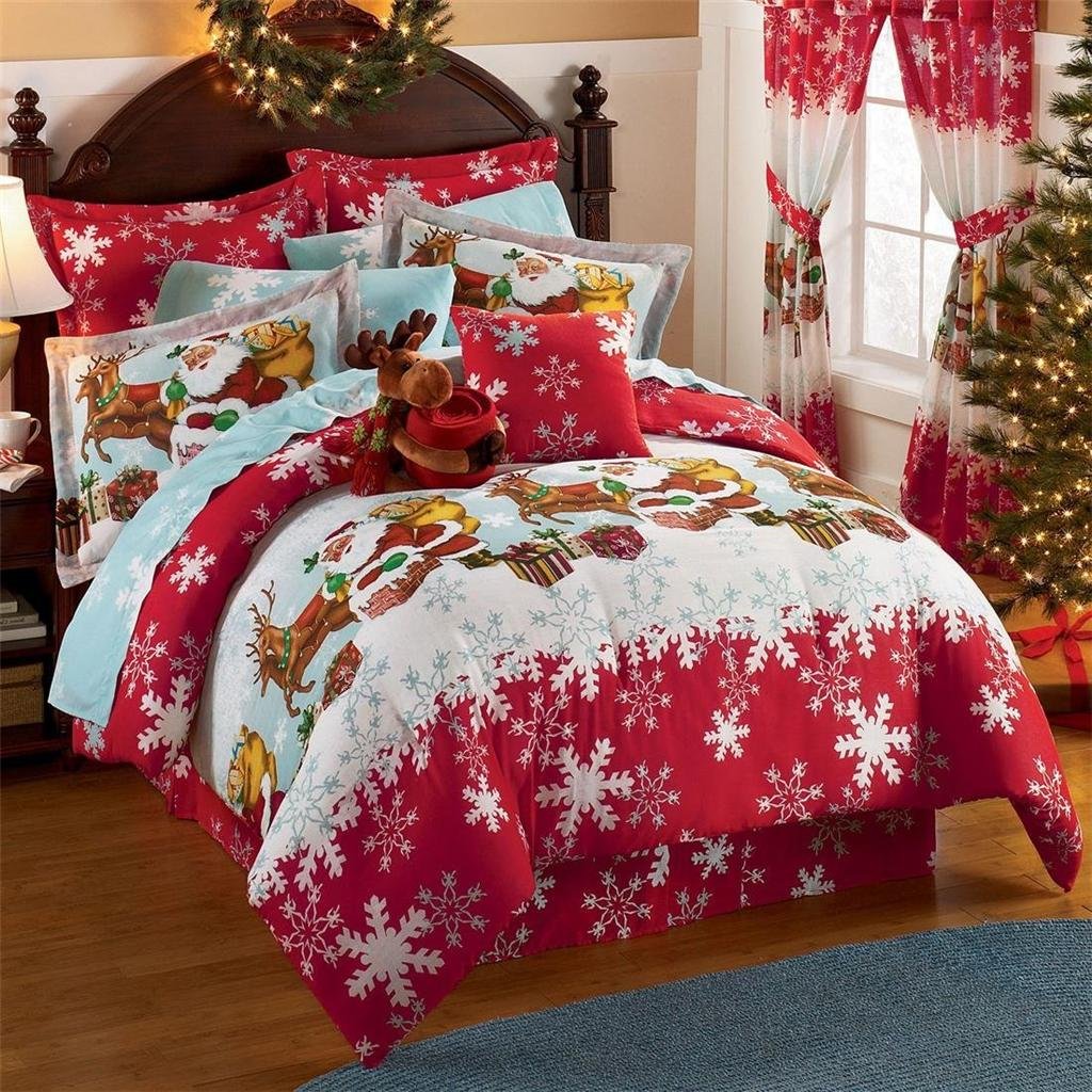 new christmas up on roof top comforter sheets bed in bag twin or queen ebay