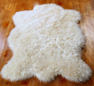 plush bear skin area rug faux fur accent fake sheepskin throw log cabin white 4 39 ebay. Black Bedroom Furniture Sets. Home Design Ideas