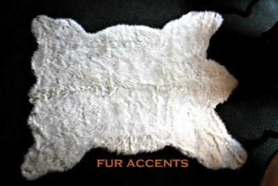 plush bear skin area rug white faux fur accent fake sheepskin throw log cabin 6 39 ebay. Black Bedroom Furniture Sets. Home Design Ideas