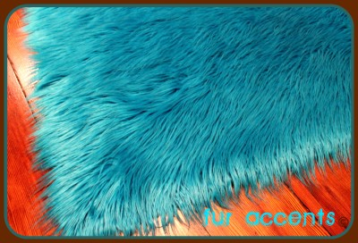 Teal Shag Bear Skin Accent Rug Faux Fur Rug Fake Sheepskin