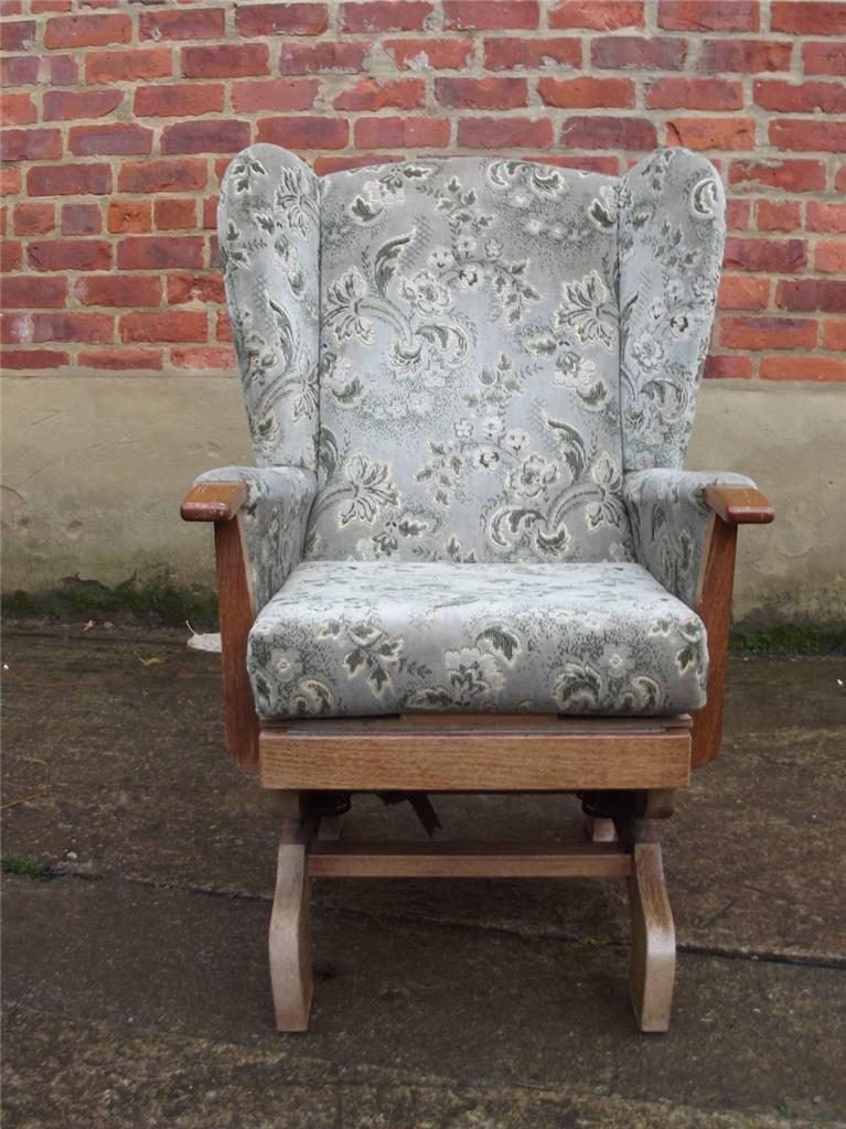Details about Wing Back Upholstered Rocking Chair Cosy Fireside C712