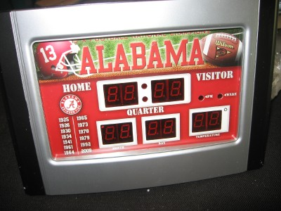 ALABAMA CRIMSON TIDE NCAA SCOREBOARD ALARM CLOCK