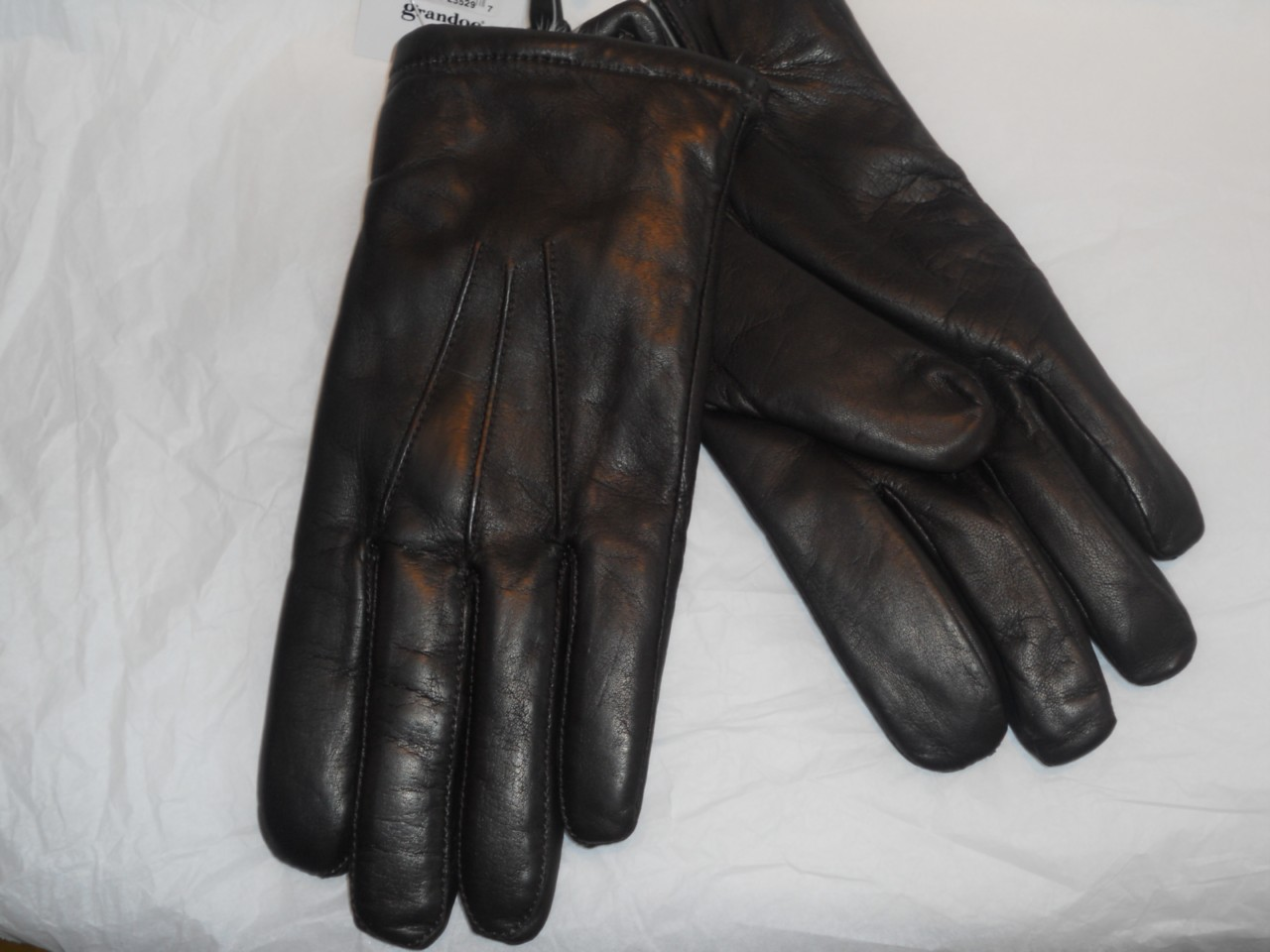 Mens leather gloves rabbit fur lined -