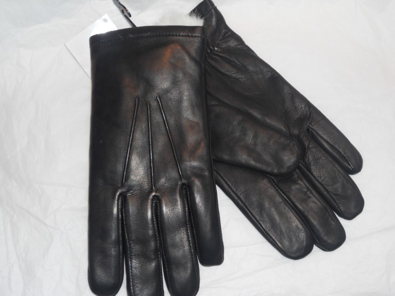 Mens leather gloves rabbit fur lined - Mens Finest Deluxe White Rabbit Fur Lined Genuine