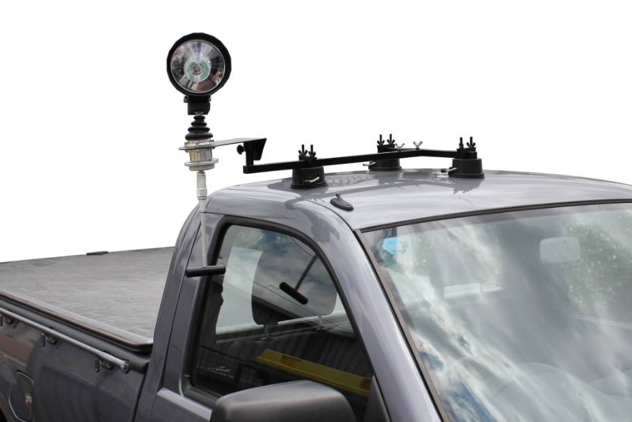 Car Roof Spotlight Mount With Folding Remote Handle Crosshairs