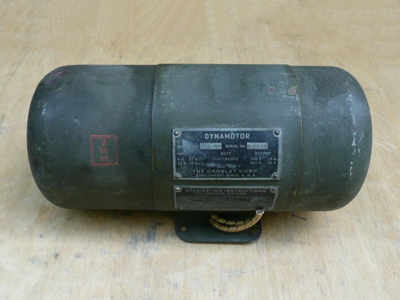 Vintage Crosley Dynamotor For Pe 103a Power Unit Us Army