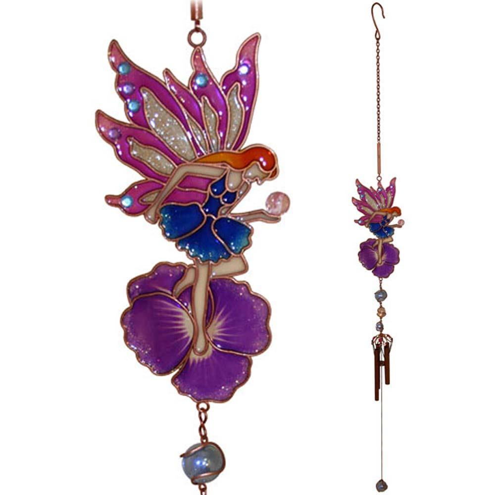 Fairy flower wind chime colourful blue pink and purple for Flower garden ornaments