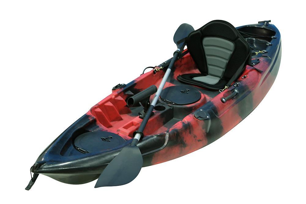Fishing kayak sit on kayak with 5 rod holders padded seat for Kayak fishing seats