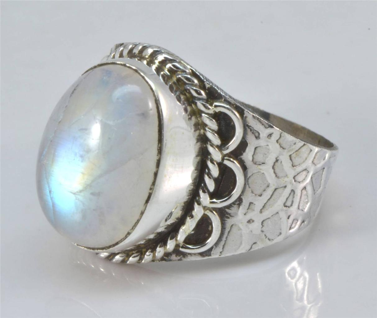 RAINBOW MOON STONE GEMSTONE RING 925 SOLID SILVER JEWELRY SIZE 7 IR