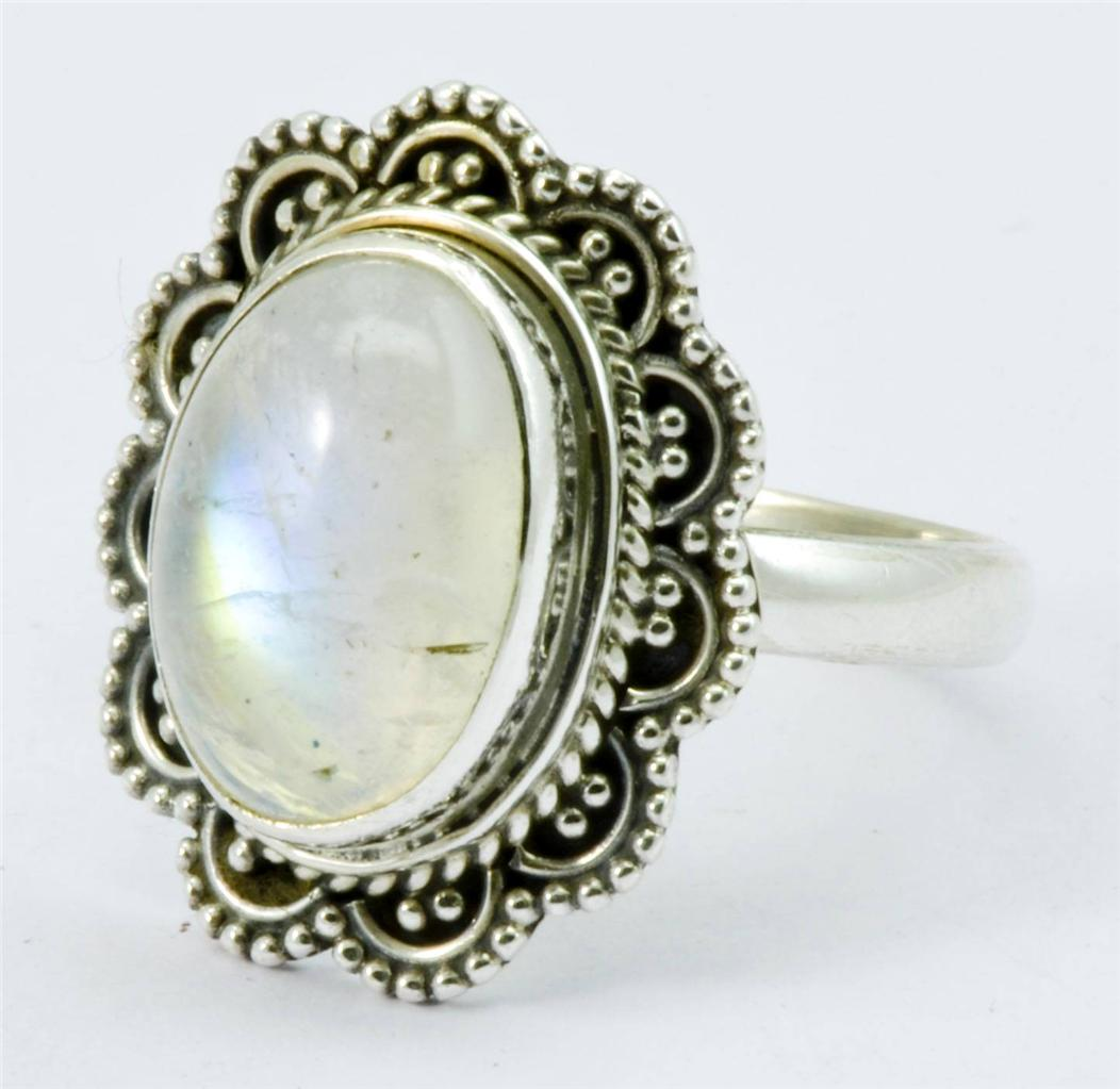 RAINBOW MOON STONE GEMSTONE RING SOLID 925 SILVER JEWELRY SIZE 7 75 IR
