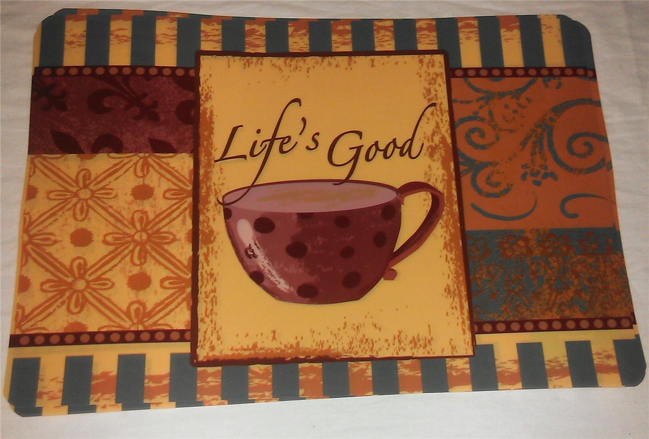 Set Of 4 Table Coffee Latte Cafe Theme Kitchen Vinyl