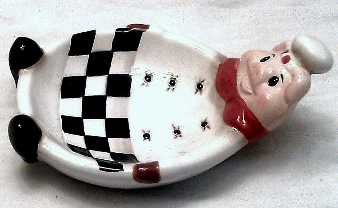 Fat pig baker chef country kitchen italian bistro spoon Pig kitchen decor