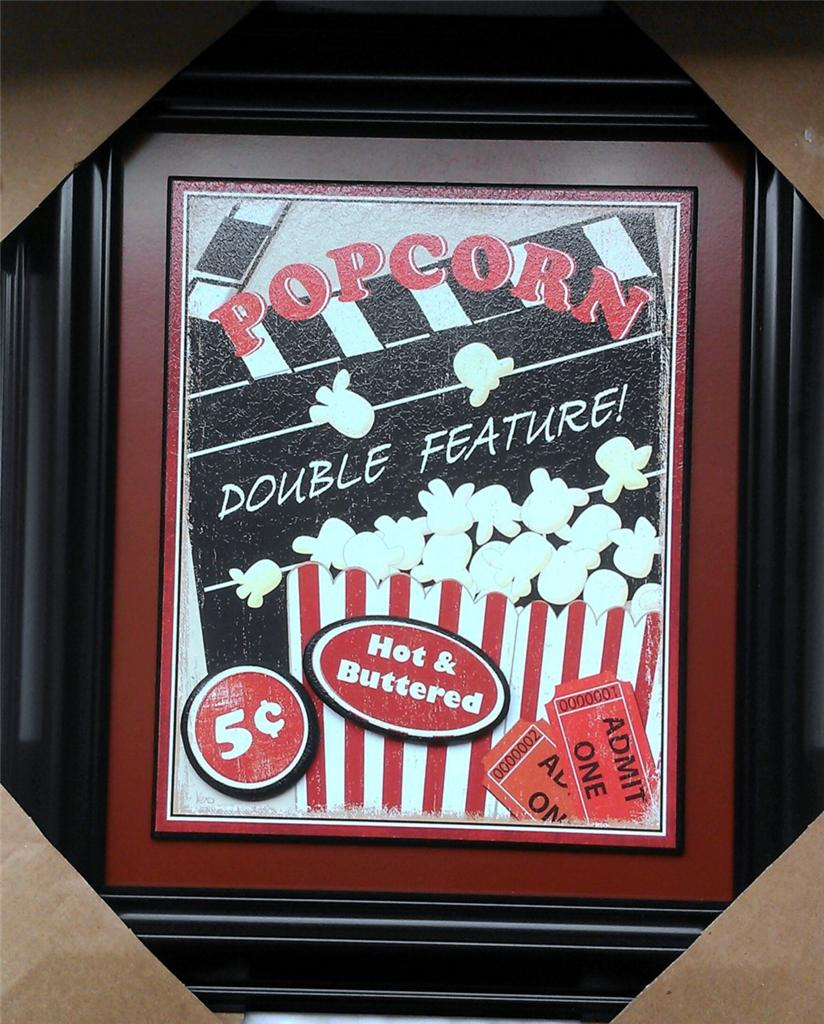 Theater Media Movie Cinema Room Theme Popcorn Picture Wall