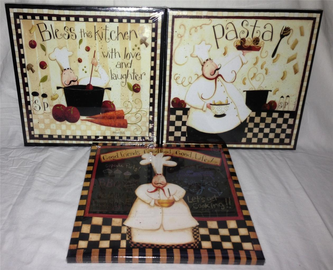 SET OF 3 FAT CHEF FRENCH ITALIAN BISTRO CANVAS PICTURES
