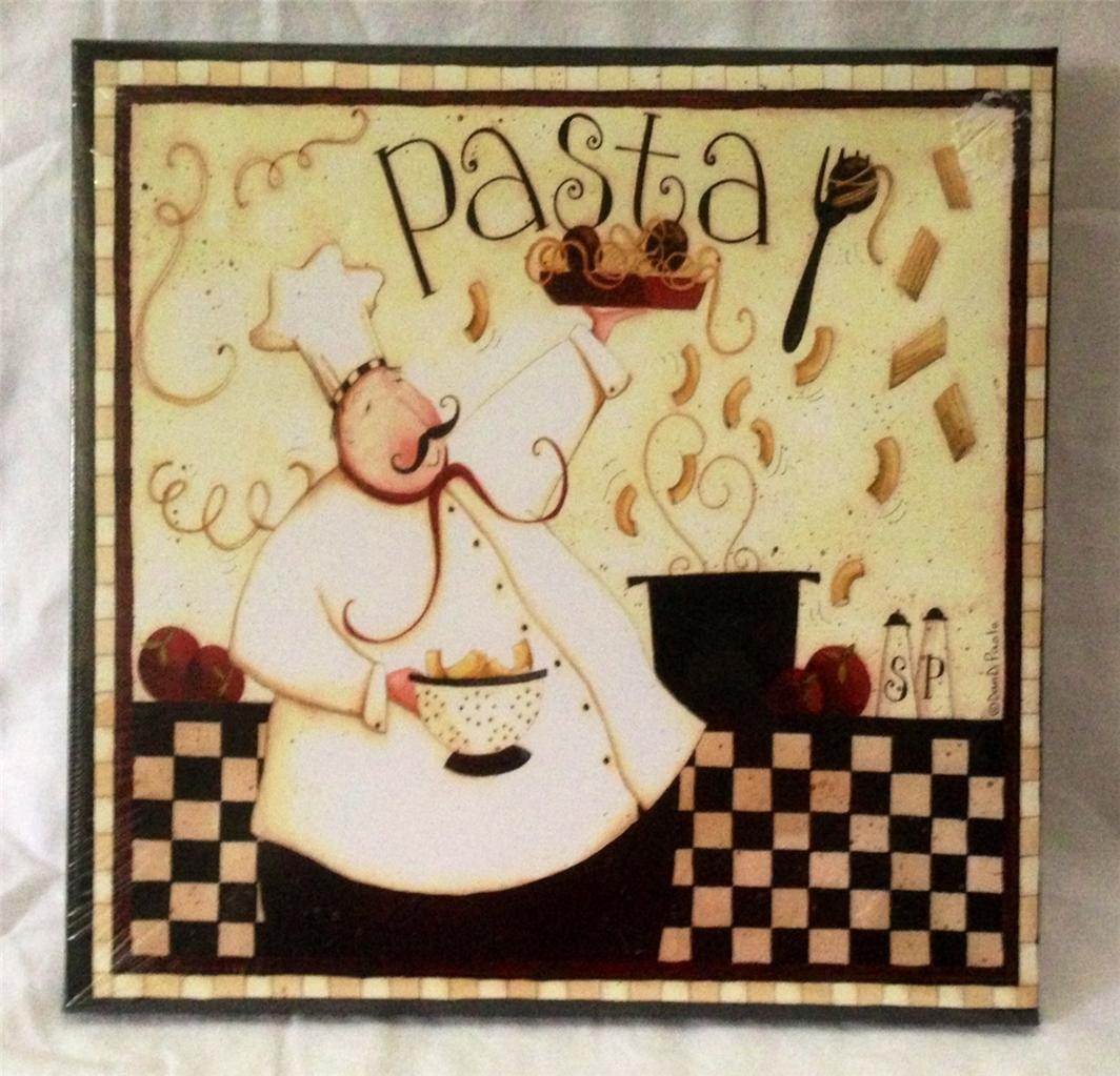 Fat Chef French Italian Bistro Pasta Canvas Picture Home