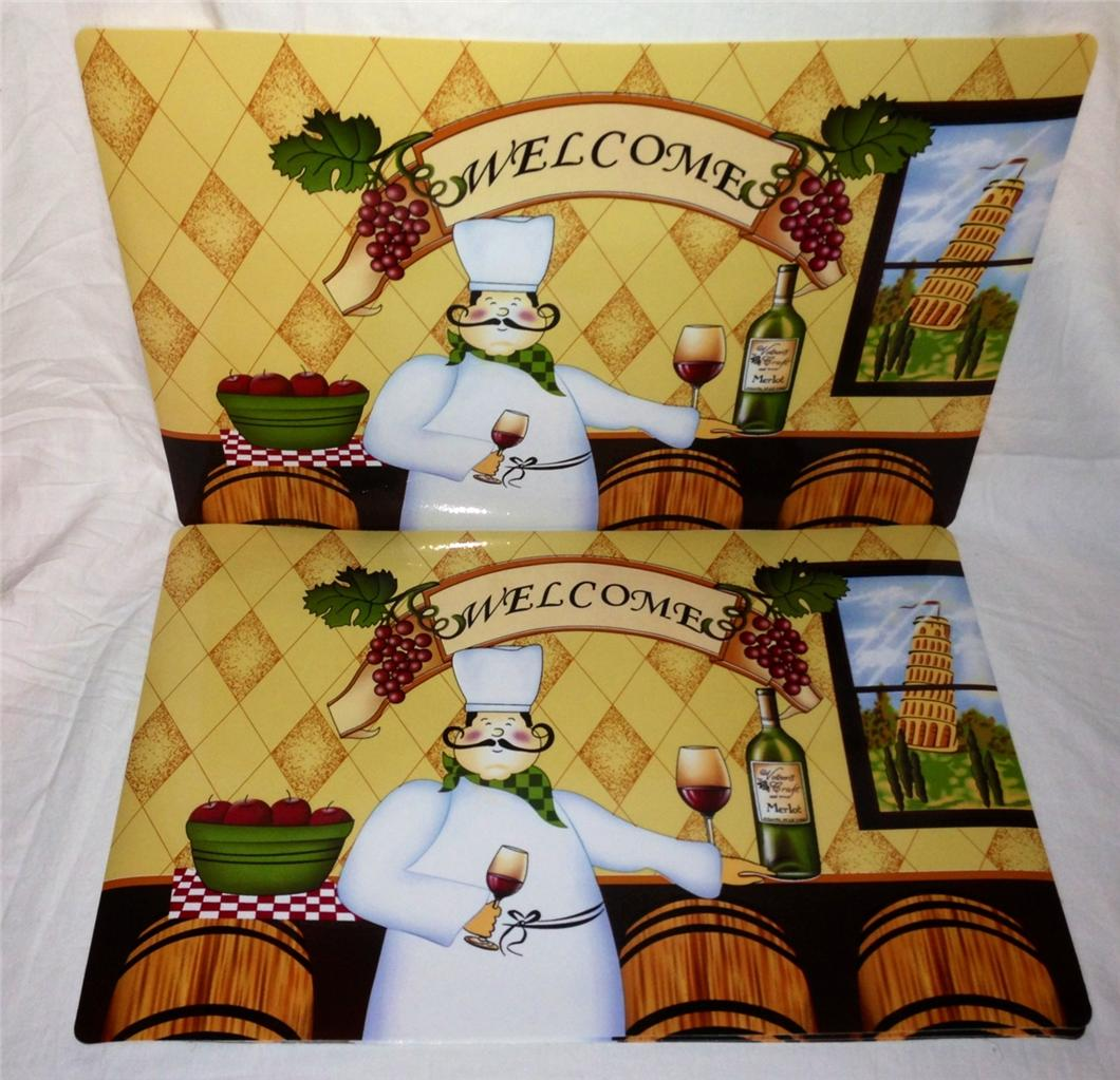Fat Chef Italian Bistro Soft Vinyl Placemats Place Mats