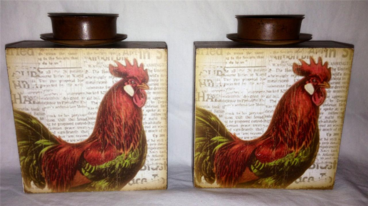 bistro rooster home interior kitchen candle holder plaque