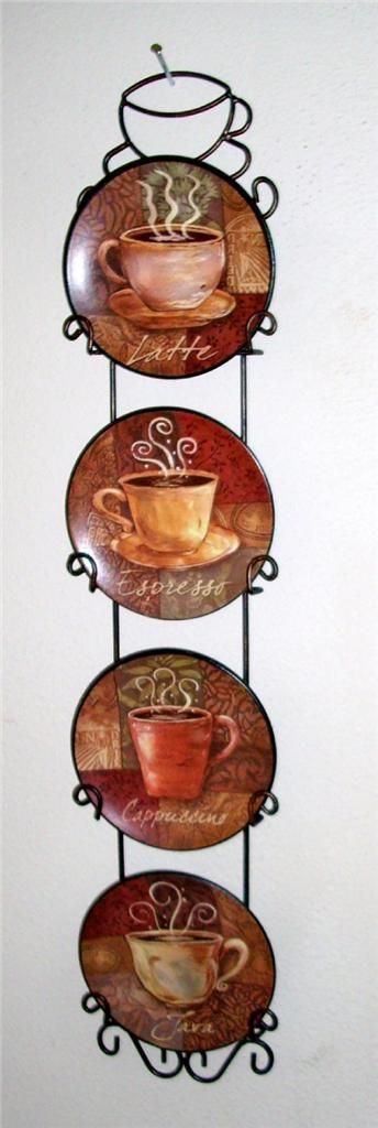 Http Www Ebay Com Itm 4 Piece Coffee House Bistro Cafe Wall Plate Rack Set Decor Interior Kitchen Home 130985507057