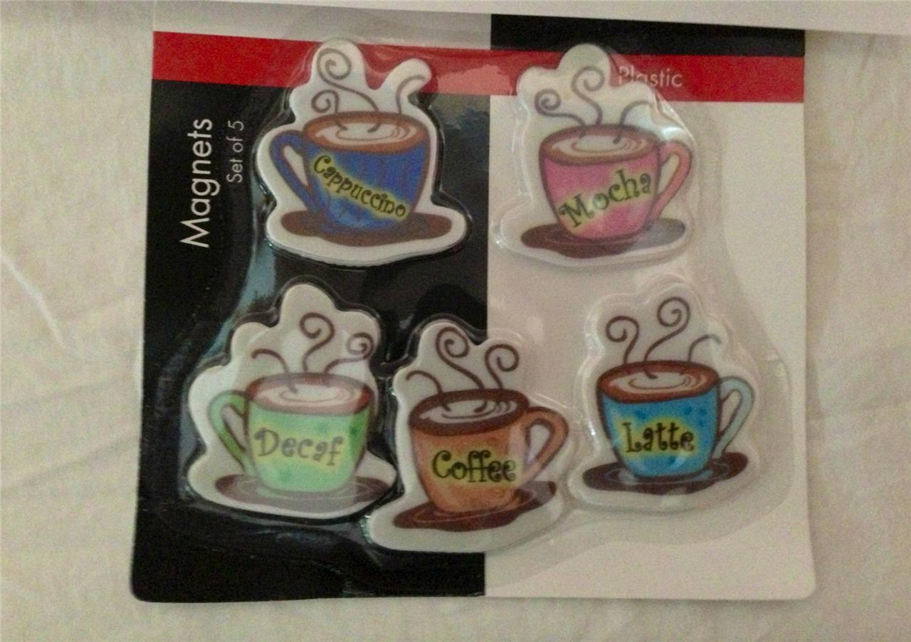 Coffee Theme Refrigerator Magnet Figurines Interior Kitchen Decor 5pc