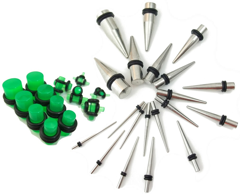 38-Pc-Ear-Stretching-Stainless-Steel-Taper-Kit-w-plugs-Choose-plug-colors