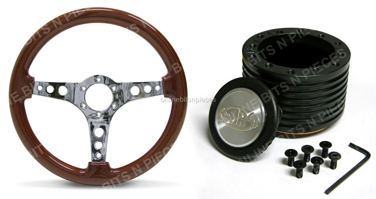 SAAS-WOODEN-STEERING-WHEEL-WITH-BOSS-KIT-HOLDENTORANA-LJ-LH-LX-UC-TA