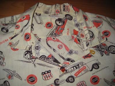 VINTAGE 1950S HOT ROD CAR CLUB WYNNS DRAG RACE PRINT SHIRT  XL  NR