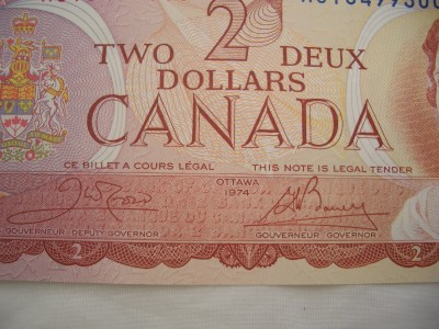 Canadian 2 Dollar Bill 1974 http://www.ebay.com/itm/1974-GEM-UNC-Canadian-Canada-Crow-Bouey-AGT-Two-Dollar-2-Bill-Banknote-/150907588716