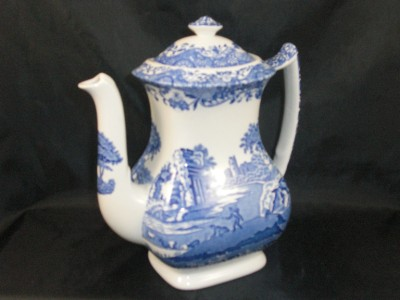 Blue Italian Coffee Maker : Spode Blue Italian Coffee Pot 2.25 pint - BLACK makers mark s694