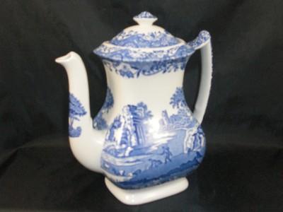 Spode Blue Italian Coffee Pot 2.25 pint - BLACK makers mark s694
