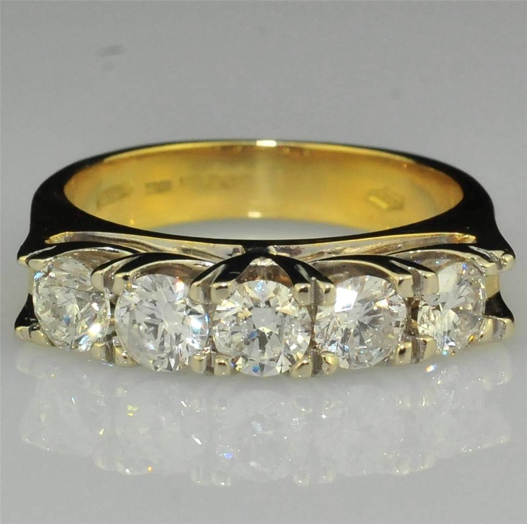 FINE-ITALIAN-18CT-GOLD-1-00-CT-5-STONE-DIAMOND-RING