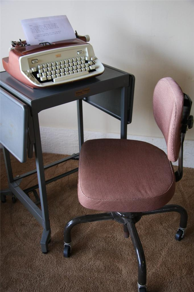 vtg 60 39 s retro mid century modern swivel office chair metal tanker desk chair ebay. Black Bedroom Furniture Sets. Home Design Ideas