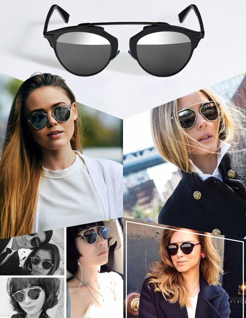 mirrored womens sunglasses wkli  New Women Men Sunglasses Christian Designer Cat Eye Vintage Mirror Lens 2016